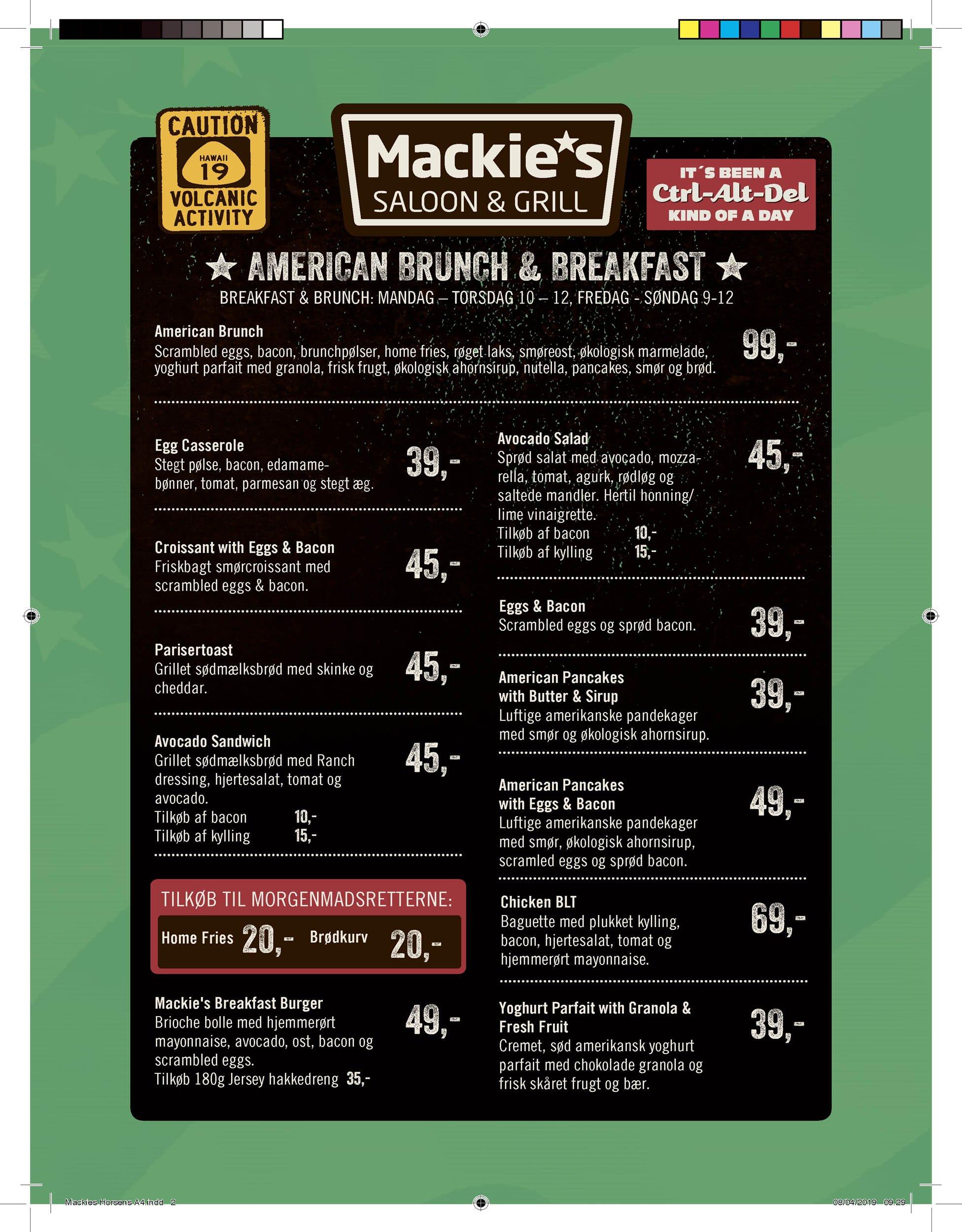Menukort mackie's