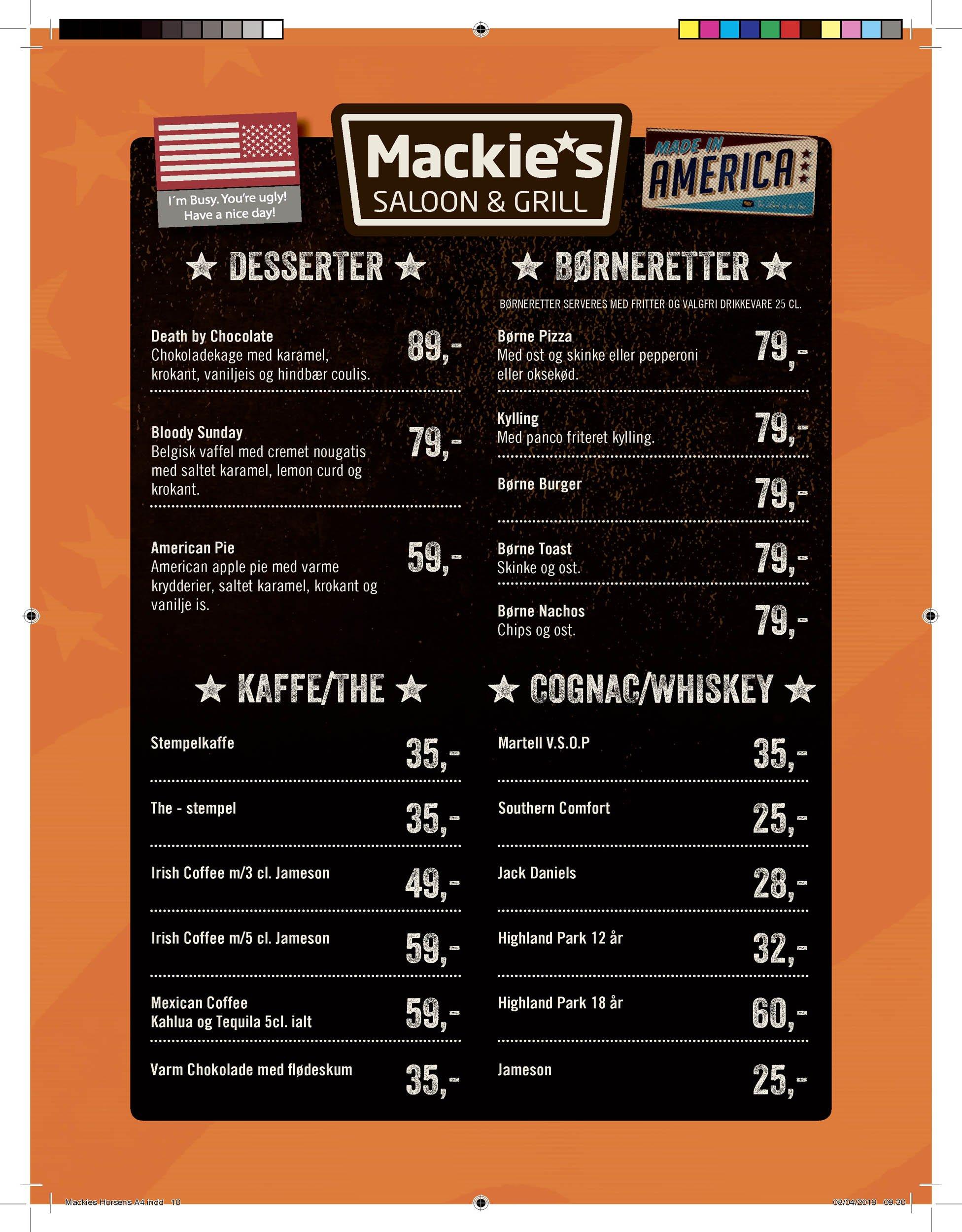 Mackie's menukort